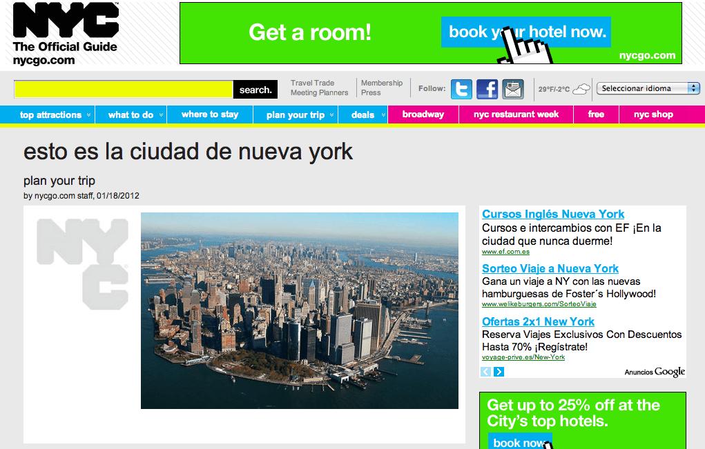 La información turística oficial de Nueva York, ya disponible en español