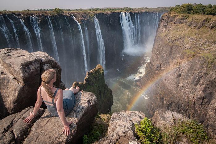 Vistas espectaculares desde arriba de las cataratas Victoria, en África.