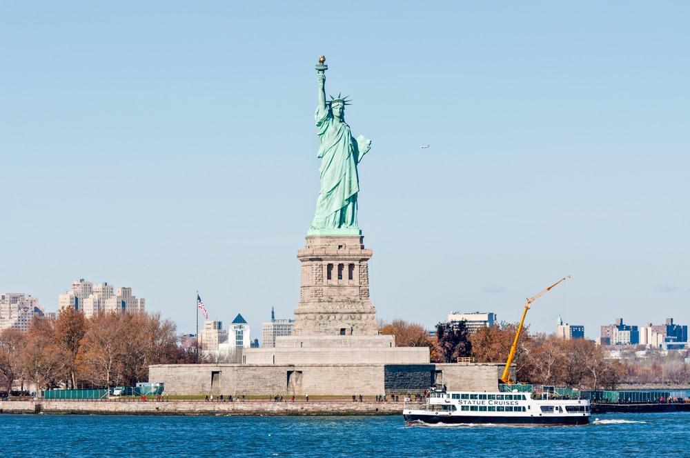 La Estatua de la Libertad desde el barco