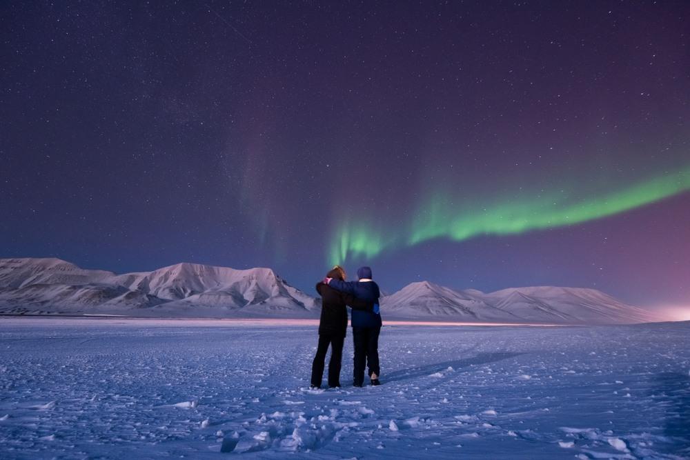 Pareja en Svalbard