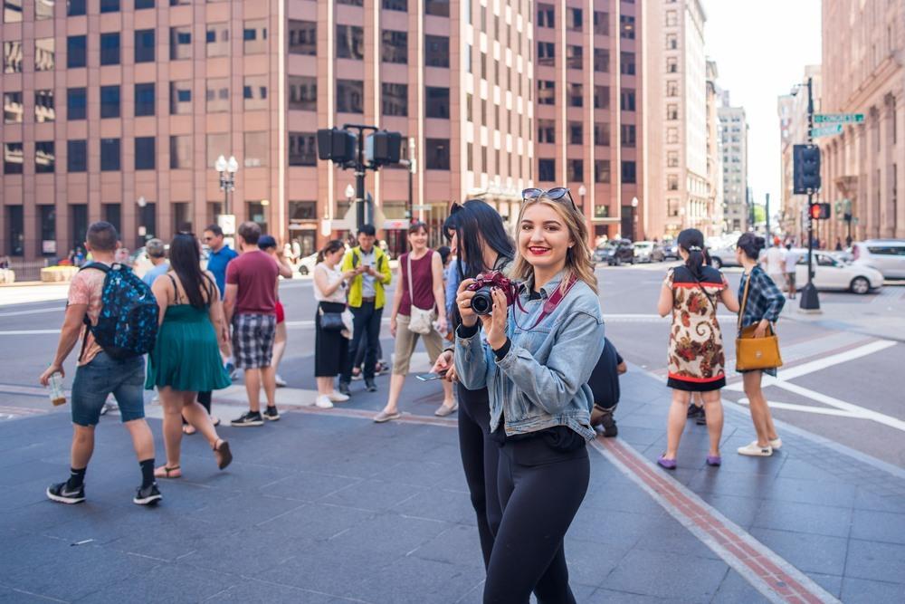 Turista por las calles de Boston