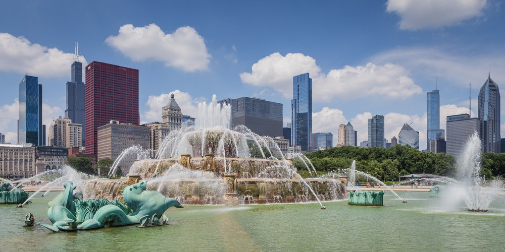 Buckingham Fountain, Millenium Park, Chicago.