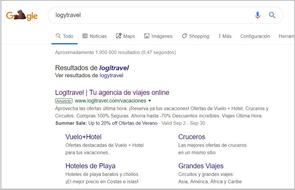 Ejemplo de un resultado de búsqueda