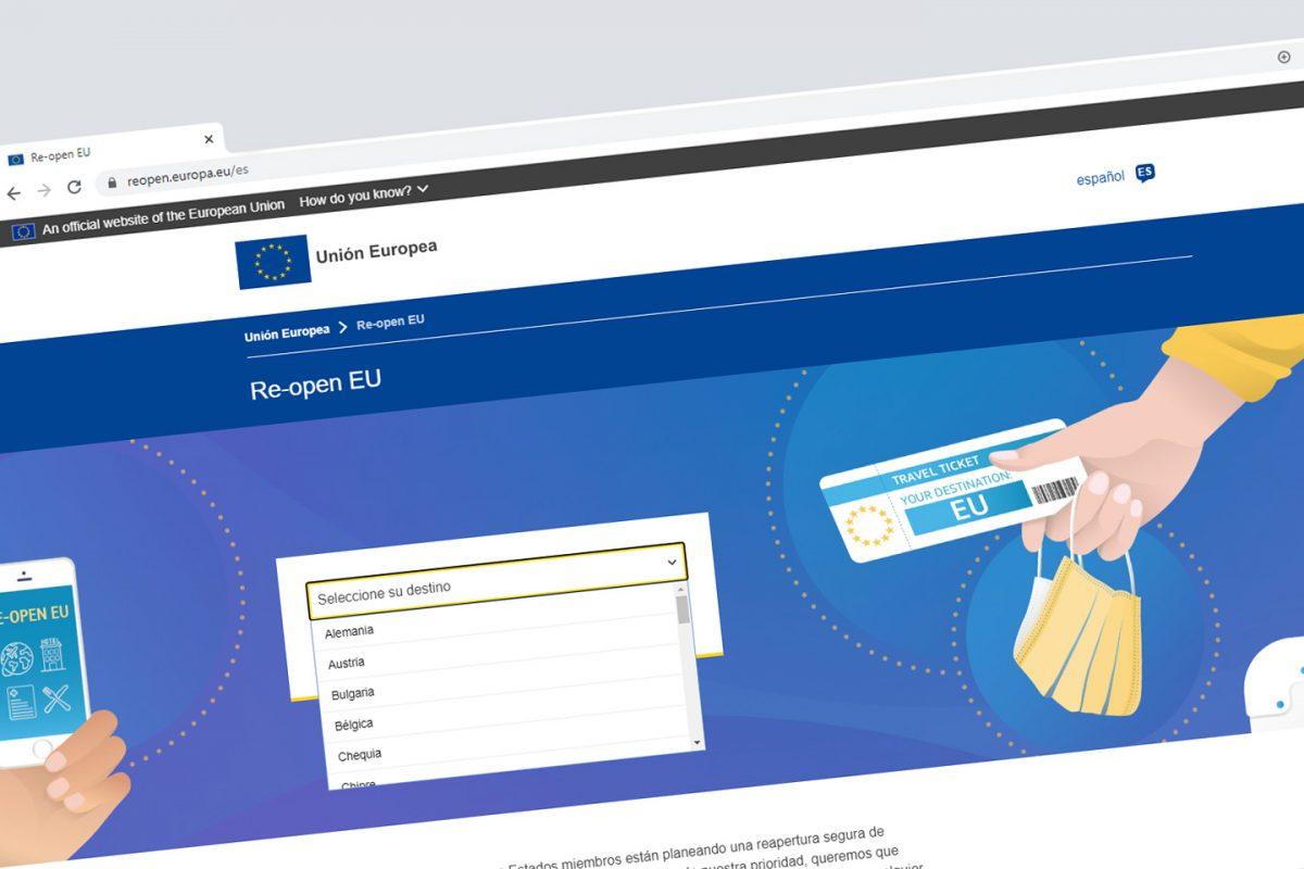 Re-open EU, la página web oficial sobre la reapertura de fronteras